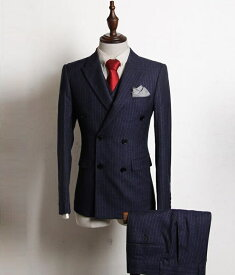 スーツ メンズスーツ スリーピース ビジネススーツ メンズ スリムスーツ 礼服 紳士用 ストライプ ダブルスーツ 結婚式 二次会 フォマール オールシーズン 洗える おしゃれ 就職活動 入社 通勤 サラリーマン 大きいサイズ ジャケット+ベスト+ズボン 3点セット
