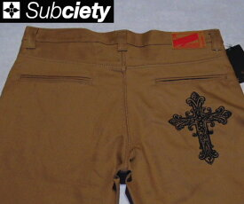 SubcietyサブサエティWORK PANTS -CLASSIC- EMBROIDERY(TRIBE CROSS)BEIGE