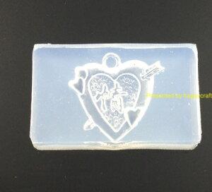 UVレジン レジン液用 シリコンモールド レジンパーツ 半透明シリコン製 3.5cm×5cm ハート+矢 ネイル 樹脂 レジン枠 ハッピークラフト/HAPPYCRAFT