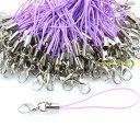 カニカン付きストラップ 100本 薄紫紐×銀 シルバー ストラップパーツ アクセサリー レジン ハッピークラフト/HAPPYCR…