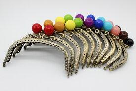 (メール便可) あめ玉風 がま口 約12.5cm 金古美/アンティーク 花柄 丸型 高品質塗装 人気カラーのアンティークがま口 つまみ部分丸 ハッピークラフト/HAPPYCRAFT ガマグチ ガマ口 口金