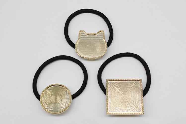 (メール便可)1個単価39円! ヘアゴム付き ミール皿 ゴールドorシルバーorアンティーク 猫 丸 正方形の3種類 ハッピークラフト/HAPPYCRAFT