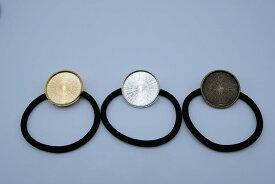 (メール便可)1個単価45円! ヘアゴム付き ミール皿 ゴールドorシルバーorアンティーク 大きめの丸型 ハートの2種類 ガラスドーム使用可能 ハッピークラフト/HAPPYCRAFT