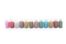 ブリオン12色! 極小ガラス玉 ジェルネイル レジンクラフト かわいいガラス瓶入り ハッピークラフト/HAPPYCRAFT (メール便可)