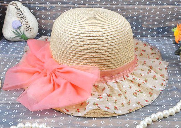 子供 帽子 ペーパーハット 女の子 花柄シフォン&リボン 麦わら帽子 子供 キッズ 帽子