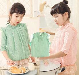 夏秋 子供服 トップス 子供 Tシャツ カットソー 女の子 レース ガーリー 子供服 カットソー フリル 子ども