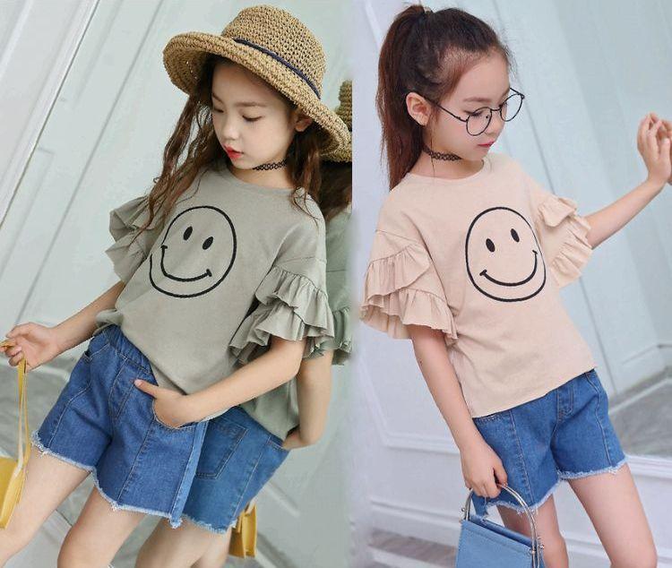 【ネコポス便送料無料】女の子 Tシャツ 子供 袖フリル Tシャツ デザイン 夏 Tシャツ 半袖 ニコニコ Tシャツ
