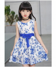 子供服 女の子 夏服 子供 ワンピース 夏 女の子 ロイヤルブルー 花柄ワンピース 子供服 ワンピース 発表会
