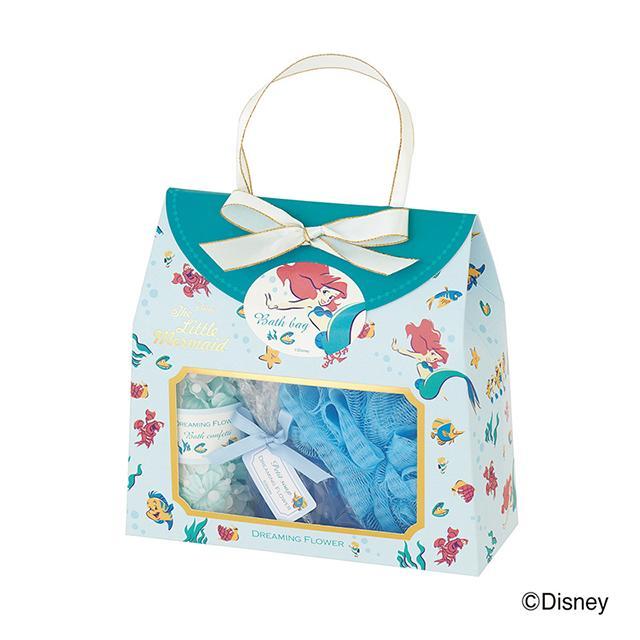 ディズニーフレグランスコレクション バスバッグ アリエルラッピング済み 入浴剤 お返し かわいい 粗品 プレゼント 送別会 ウエディングギフト