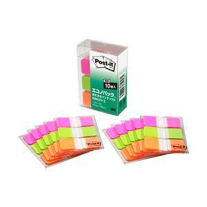 【ポイント20倍】ポストイットR超丈夫なインデックス 3色セット エコのパックTM製品シリーズ 3色入り(ピンク、ブライトグリーン、オレンジ) 4.0×1.8cm 1パック(10枚×30冊) 型番:6861S-2