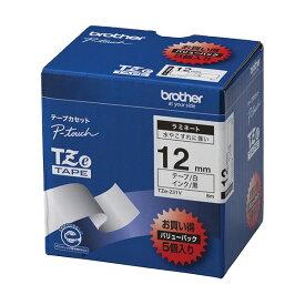 【ポイント20倍】ブラザー工業 TZeテープ ラミネートテープ(白地/黒字) 12mm 5本パック TZe-231V