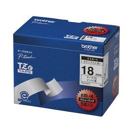 【ポイント20倍】ブラザー工業 TZeテープ ラミネートテープ(白地/黒字) 18mm 5本パック TZe-241V