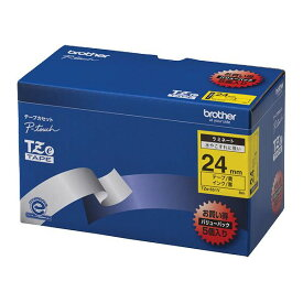 【ポイント20倍】ブラザー工業 TZeテープ ラミネートテープ(黄地/黒字) 24mm 5本パック TZe-651V