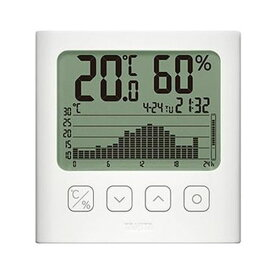【マラソンでポイント最大43.5倍】(まとめ)タニタ グラフ付きデジタル温湿度計ホワイト TT-580-WH 1個【×3セット】