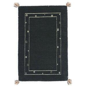 【ポイント20倍】ギャッベ ラグマット/絨毯 【約200×200cm ブラック】 ウール100% 保温性抜群 調湿効果 オールシーズン対応 〔リビング〕【代引不可】