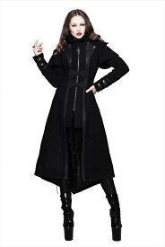 【Devil Fashion】クロスチャームとゴシックボタニカル生地がアクセントのロングコート ジャケットコート ブラック ゴシックパンク レディースMサイズ CT043M【SSMay15_point20】【20P30May15】
