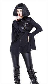 【Devil Fashion】左胸の大ぶりのクロスチャームが特徴的なフレアカフスジャケットコート ブラック ゴシックパンク レディースMサイズ CT113M【SSMay15_point20】【20P30May15】