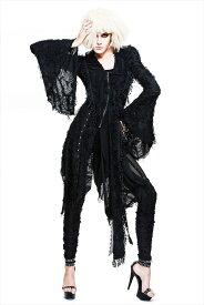 【Devil Fashion】退廃感溢れるダークな雰囲気のフード付きシースルーパーカーコート アシンメトリーデザイン ダークゴシック ブラック レディース Mサイズ CT037M【SSMay15_point20】【20P30May15】