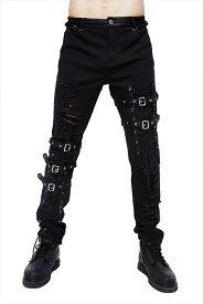 【Devil Fashion】PUNK感満載のダメージ加工xフロント編み上げ&ベルトのボンテージデザインロングパンツ ゴシックパンク ブラック メンズ Mサイズ PT092M【SSMay15_point20】【20P30May15】