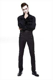 【Devil Fashion】ゴシックペイズリー柄生地が特徴的 タイト感を調整可能なロングパンツ ゴシックパンク ブラック メンズ Mサイズ PT095M【SSMay15_point20】【20P30May15】