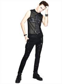 【Devil Fashion】ダメージ加工とベルトがアクセントのアシメデザインロングパンツ ゴシックパンク ブラック メンズ Mサイズ PT089M【SSMay15_point20】【20P30May15】