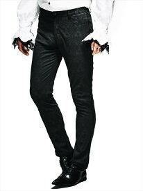 【Devil Fashion】繊細なゴシック紋様が一面に織り込まれたジャカード織りロングパンツ ゴシックパンク ブラック メンズ XLサイズ PT028XL【SSMay15_point20】【20P30May15】
