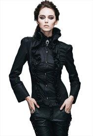 【Devil Fashion】ゴージャスなドレープとブラックリボン&アクリルパールがワンポイントの中世貴婦人風背面編み上げシャツ/ブラウス ゴシックパンク ブラック レディース Mサイズ SHT00501M【SSMay15_point20】【20P30May15】