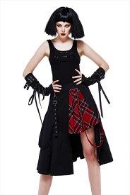 【Devil Fashion】赤いタータンチェック生地が印象的なツインカラーベルトのアシンメトリーデザインスカート ブラック&レッド ゴシックパンク レディースMサイズ SKT082M【SSMay15_point20】【20P30May15】