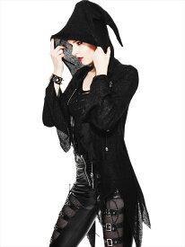 【Devil Fashion】退廃感とパンク感が共生するウィッチフードのイレギュラーヘムパーカー ゴシックパンク ブラック レディース Mサイズ SR003M【SSMay15_point20】【20P30May15】