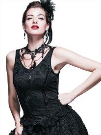 【Devil Fashion】ゴシック文様を織り込んだジャカード生地のノースリーブカットソー タンクトップ ブラック ゴシックパンク レディースMサイズ TT027M【SSMay15_point20】【20P30May15】