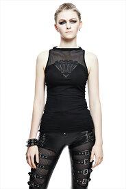 【Devil Fashion】ダークグレイブデザインのシースルーメッシュがセクシーなノースリーブカットソー タンクトップ ブラック ゴシックパンク レディースMサイズ TT068M【SSMay15_point20】【20P30May15】