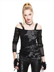 【Devil Fashion】クリーチャースカルデザインプリントのオフショルダーカットソー ブラック ゴシックパンク レディースMサイズ TT043M【SSMay15_point20】【20P30May15】