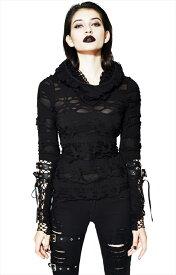 【Devil Fashion】退廃感あふれるディストピアデザインのフード付きロングスリーブ&シースルーカットソー ブラック ゴシックパンク レディースMサイズ TT096M【SSMay15_point20】【20P30May15】
