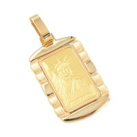 純金24金リバティ10gインゴットペンダントトップクレジットスイス自由の女神K18枠付き新品