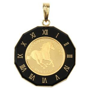 純金 K24 ホース 馬 1/25oz 金貨 ペンダントトップ コイン アラベスク 時計文字 ブラック デザイン枠 新品 送料無料 メンズ レディース プレゼント ギフト 贈り物 誕生日 人気 おしゃれ かわいい