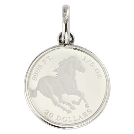 純プラチナ ペンダントトップ 1/5oz ツバル ホース コイン エリザベス レディース メンズ シンプル枠 送料無料馬 新品