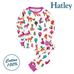 Hatley ハットレイ キッズ パジャマプレミアムルームウェア コットン 綿100% 長袖 上下セット かわいい きつね柄 ブランド 子供 おすすめ 男の子 女の子 ジュニア 90 95 100 110 120 春 秋 冬 送料無