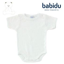 Babidu バビドゥ 綿100% ベビー 服 半袖 ボディ テディベア柄 透かし編み ロンパース 肌着 男の子 女の子 60 70 80 90 白 赤ちゃん 春 夏 くま ブランド