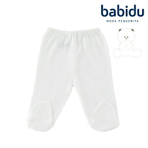 バビドゥ Babidu 綿100% ベビー 服 足つき ズボン パンツ ベビー 透かし編み テディベア柄 出産祝い コットン 春 秋 冬 男の子 女の子 55 60 65 新生児 くま