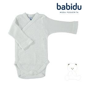 Babidu バビドゥ 綿100% 長袖 ボディ 前開き ロンパース テディベア柄 肌着 出産祝い くま 新生児 ブランド 赤ちゃん 55 60 65 白 春 秋 冬