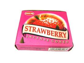 お香 ストロベリー香 コーンタイプ /HEM STRAWBERRY CORN/インセンス/インド香/アジアン雑貨(ポスト投函配送選択可能です/6箱毎に送料1通分が掛かります)