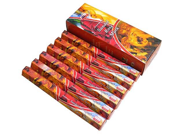 お香 ダルシャン サンダルローズムスク香 スティック /DARSHAN SANDAL ROSE MUSK/インセンス/インド香/アジアン雑貨 (6箱セット!ポスト投函配送選択可能です/送料1通分が掛かります)