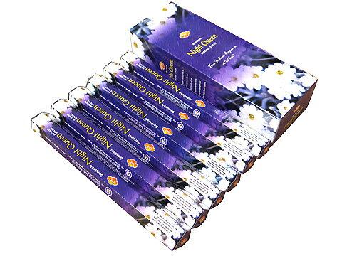 お香 ナイトクィーン香 スティック /SAC NIGHT QUEEN/インセンス/インド香/アジアン雑貨(6箱セット!ポスト投函配送選択可能です/送料1通分が掛かります)