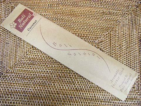 お香 バリのお香BALI NATURALバリナチュラル COCONUTココナッツ スティック /バリ島より直輸入日本では当店のみの販売!/インセンス/インド香/アジアン雑貨(ポスト投函配送選択可能です/6箱毎に送料1通分が掛かります)