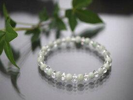 ミャンマー産天然A貨本翡翠(ジェダイト) 6mm ボタンカット水晶(平珠水晶)AAA 3×6mmブレスレット/天然石(ポスト投函配送選択可能です)