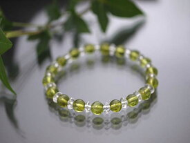 ペリドット AAAA 6.5mm ボタンカット水晶(平珠水晶)AAA 3×6mmブレスレット/天然石(宅配便送料無料)