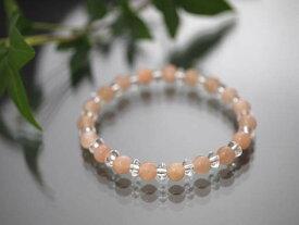 天然オレンジ・ムーンストーンAAA 6mm ボタンカット水晶(平珠水晶)AAA 3×6mmブレスレット/天然石(ポスト投函配送選択可能です)