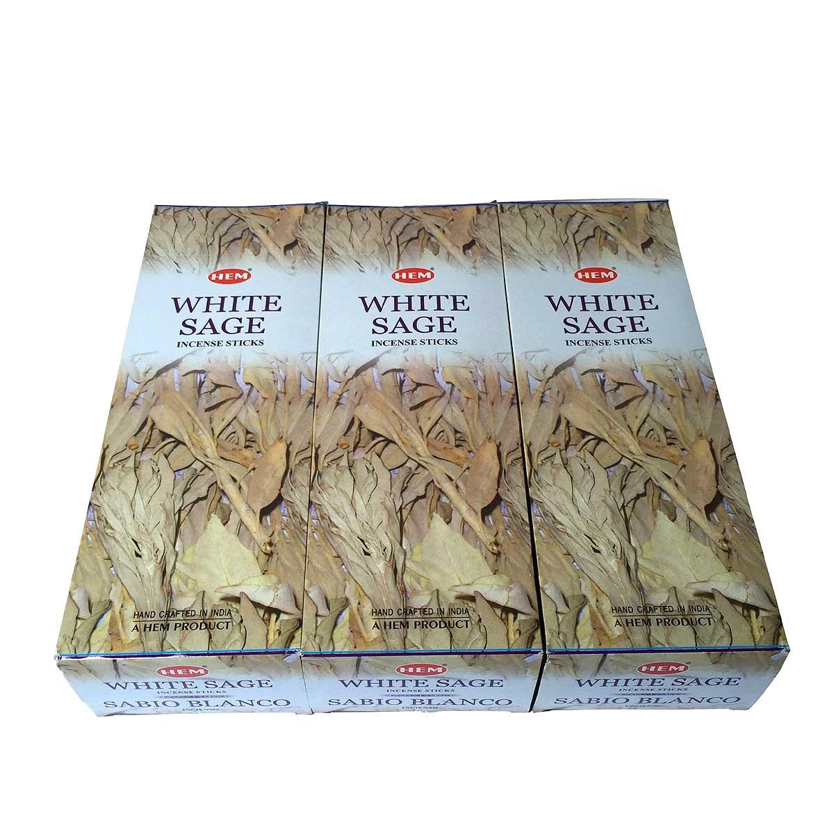 お香 ホワイトセージ香 スティック 卸おまとめプライス3BOX(18箱)/HEM WHITE SAGE/ インド香 /