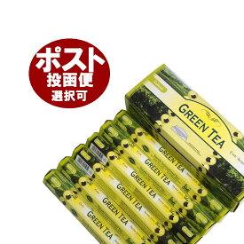 お香 グリーンティー香 スティック/TULASI GREEN TEA/インセンス/インド香/アジアン雑貨(6箱セット!ポスト投函配送選択で送料無料/他商品同梱不可です!)
