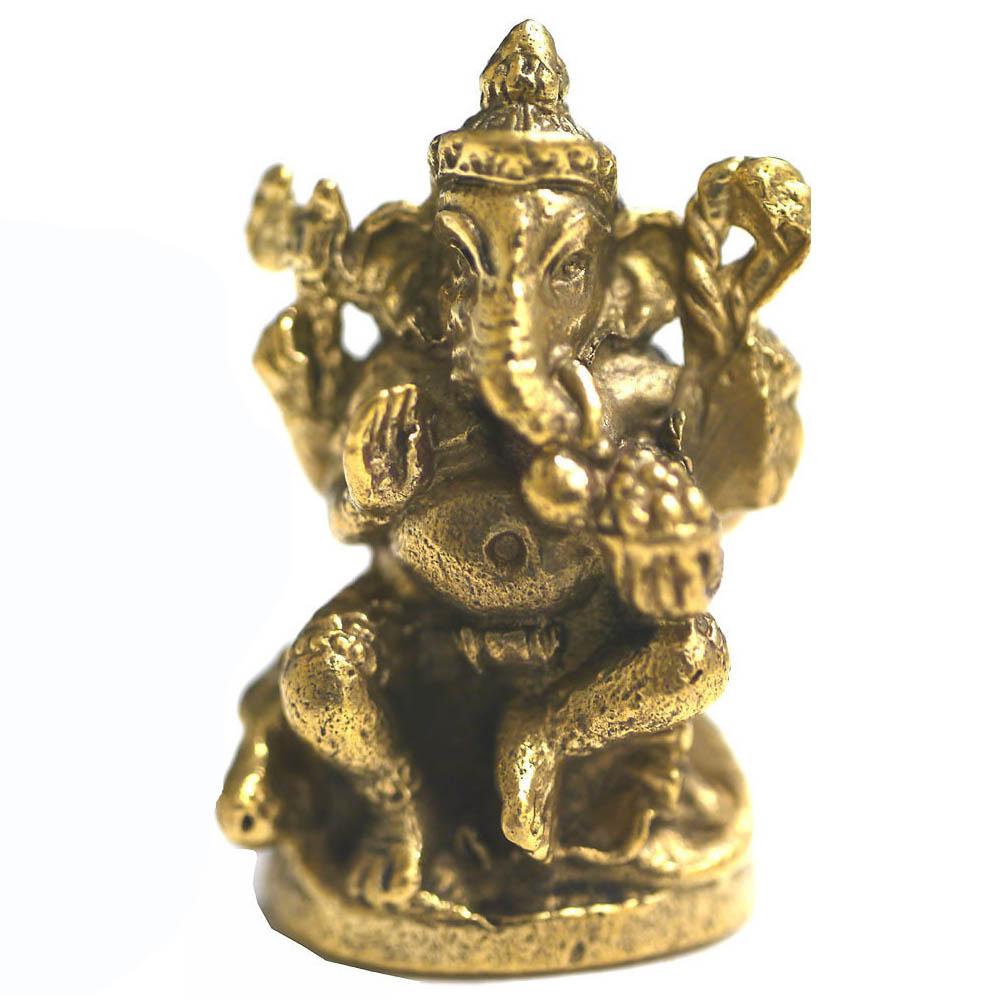 インドの神様ガネーシャの置物 ブラスバージョンミニ10/エスニック/アジアン雑貨(ポスト投函配送選択可能です)